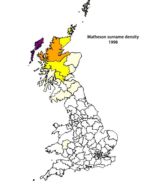 Matheson surname density map 1998
